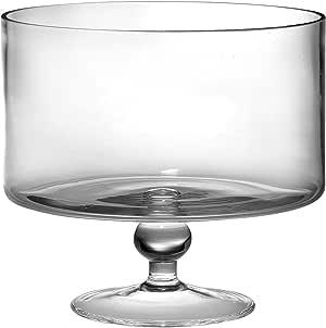"Barski European Beautiful Hand Made Glass Large Trifle Bowl, 9.5""D, 170 oz (over 5 quarts) Clear"
