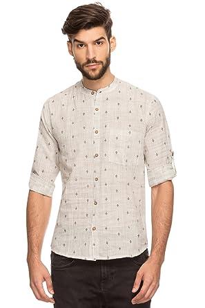 4467fbce6 Shatranj Men s Indian Band Collar Shirt Tunic Textured Space Dye and Micro  Print  Charcoal