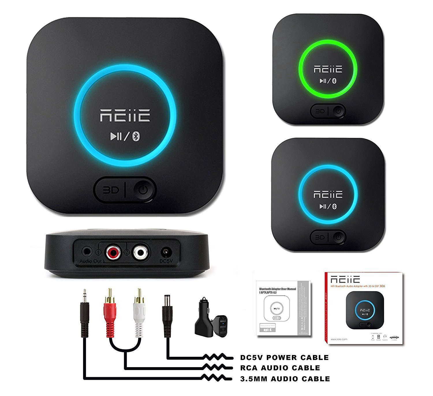 REiiE Audio Bluetooth Adapter Receiver with 3D Surround AptX Low Latency, V4.2 Wireless Audio Adapter for Home and Car Music Stereo Streaming(Pair 2 At Once) by REIIE (Image #3)