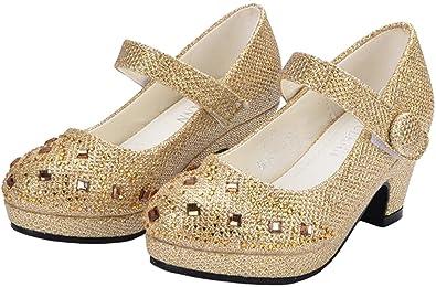 c2e11a2d4a PPXID Toddler Little Girl's Princess Glitter Performance Dance Shoes High  Heel Pumps-Gold 8.5 US