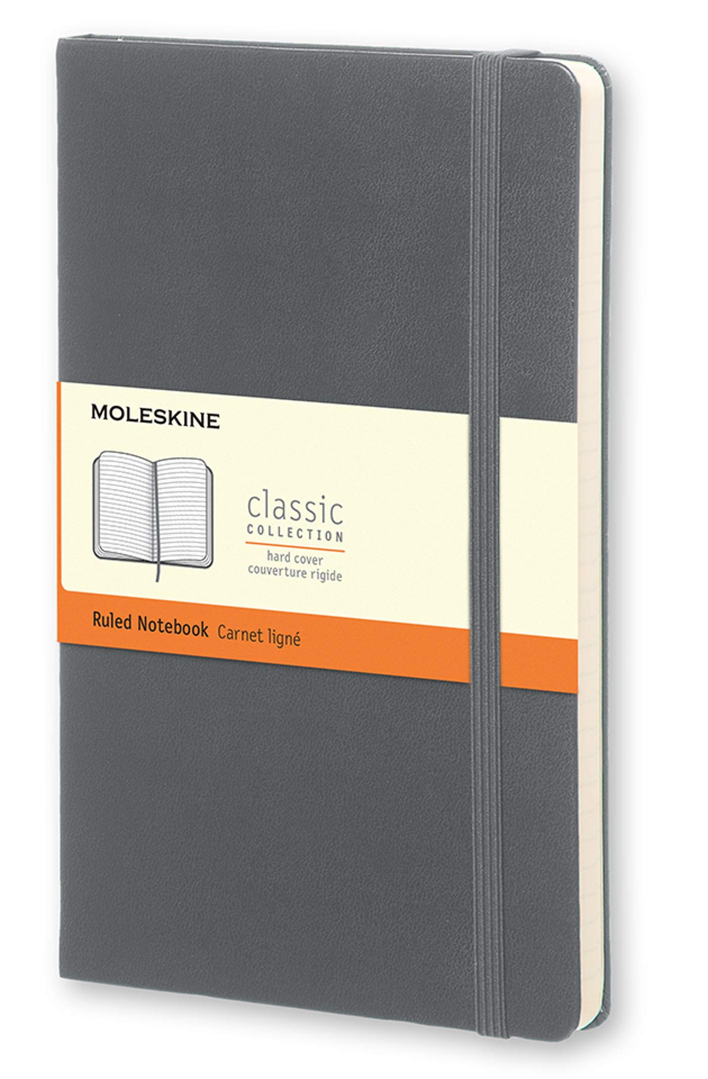 Moleskine Classic Notebook, Hard Cover, Large (5'' x 8.25'') Ruled/Lined, Slate Grey