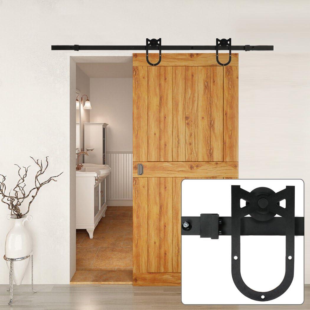 Homdox envejecido – Puerta Corredera de madera Granero, color negro, 6 feet: Amazon.es: Bricolaje y herramientas