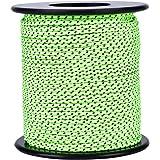 50m テント ロープ コード 反射材入りパラコード ボビン巻型 ガイドロープ 直径2.5mm アウトドア キャンプ固定用ひも グリーン