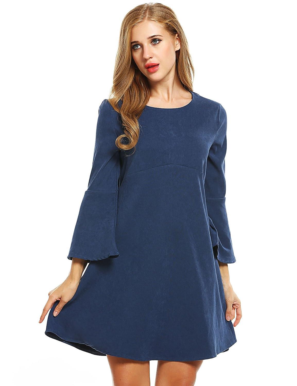 Meaneor Damen Kleid Winterkleid Elegant O-Ausschnitt Locker Casual ...
