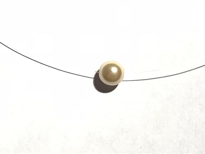 80f3d4ca8f0 Collier ras du cou perle nacrée champagne fil nylon  Amazon.fr  Handmade