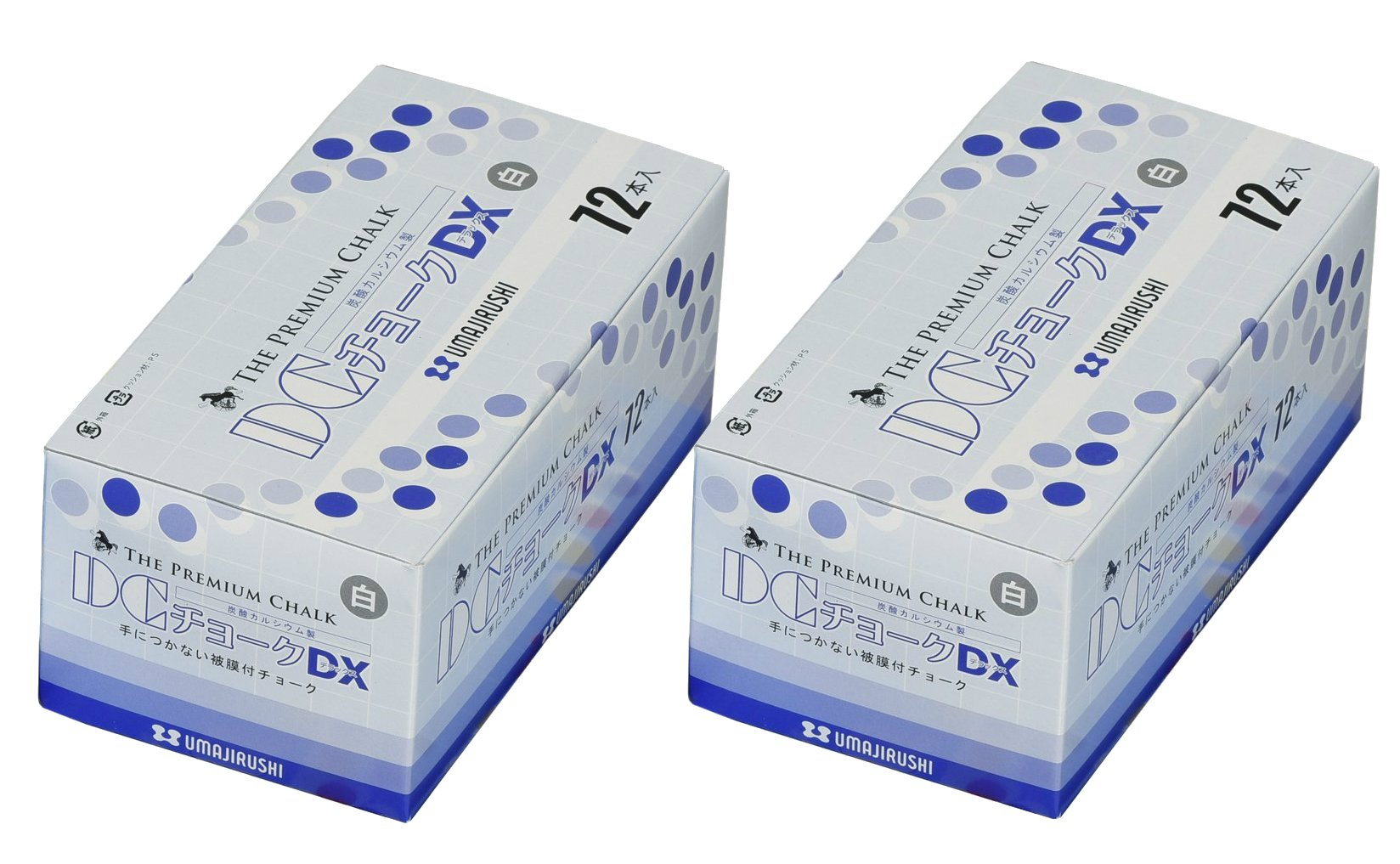 2 X UMAJIRUSHI The Premium Chalk, DC Chalk DX 72pcs White, Made in Japan