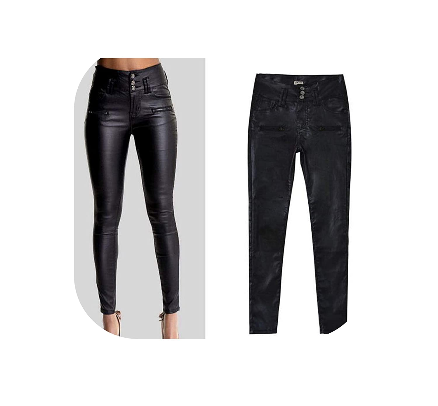 Black Winter Elegant Ladies PU Leather Leggings Wild Slim Pencil Trousers feet Leather Pants,