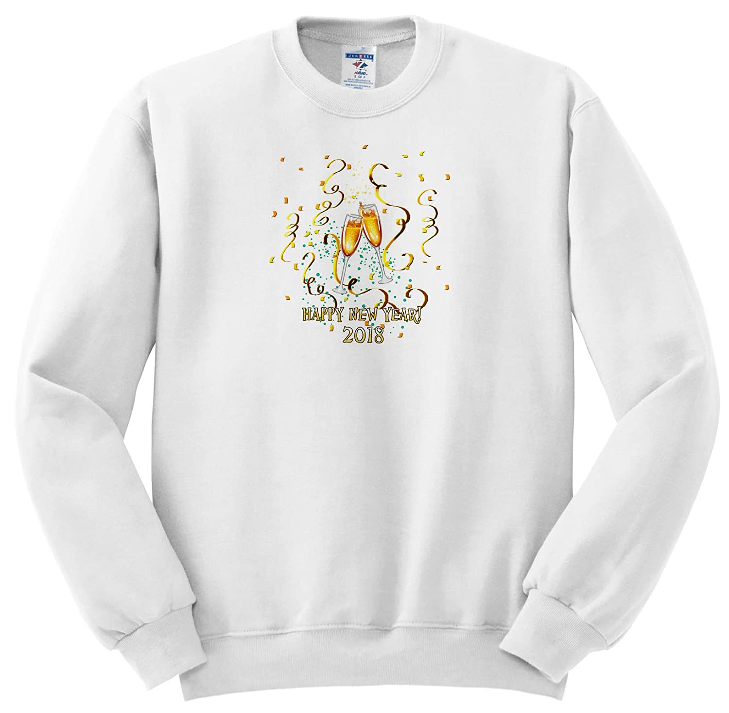 71329c3e2e90a6 Dream Essence Designs-Holidays New Year - Happy New Year 2018 With  Champagne Glasses, Confetti and Gold Ribbon. - Sweatshirts - Youth  Sweatshirt XS(2-4) ...