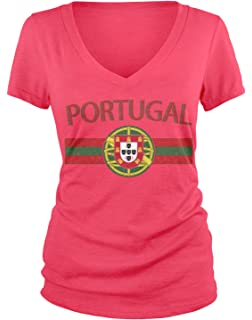 6c452b502 Amdesco Junior s Portugal Flag and Portuguese Shield Crest V-Neck T-Shirt