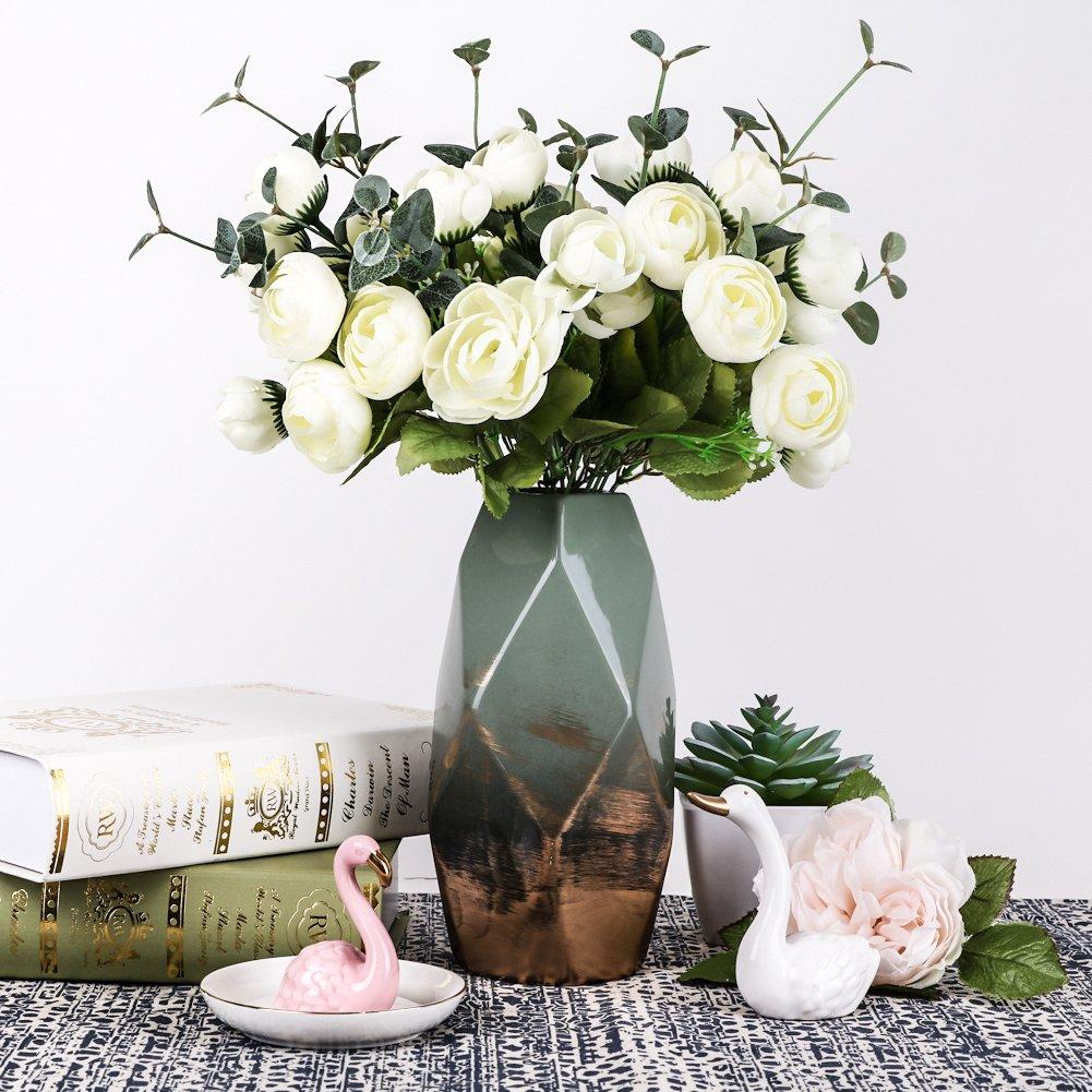 Hannahs Cottage Grun Gold Keramik Vase Kleine Blumenvase Moderne
