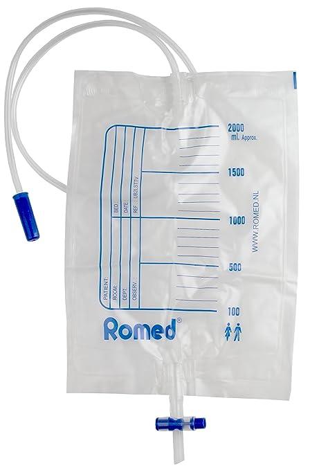 Bolsas de orina de 2 litros de Romed UB2LSTTV, con válvula y drenaje en T, esterilizadas