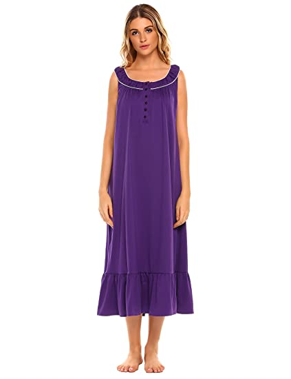 d81312478eee L amore Women s Nightgown Sleeveless Cotton Sleepwear Pretty Babydoll  Pajamas Ruffle Sleep Dress