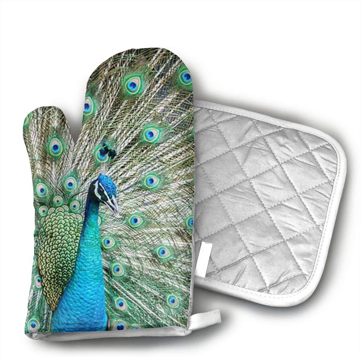 not Oven Mitts and Potholders Peacock Showing Its Feathers Non-Slip Grip Heat Resistant Oven Gloves BBQ Cooking Baking Grilling