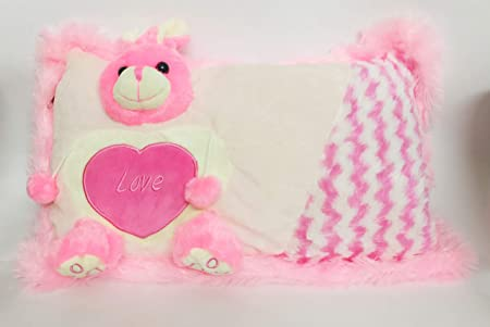 Praish Soft Pillow with Love Teddy Colour- Yellow