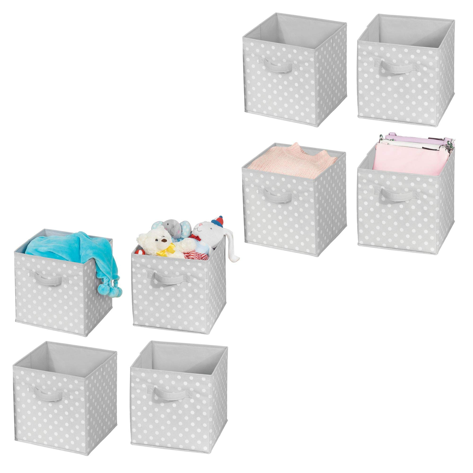 mDesign Soft Fabric Closet Organizer Bin Box - Front Handle - Cube Storage for Child/Kids Room, Nursery, Toy Room, Furniture Organization - 10.5'' high - 8 Pack, Gray with White Polka Dots