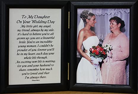 PersonalizedbyJoyceBoyce com 5x7 Hinged to My Daughter ON Your Wedding Day  Poem Frame ~ Gift for Bride from Mother or Father! (Black)