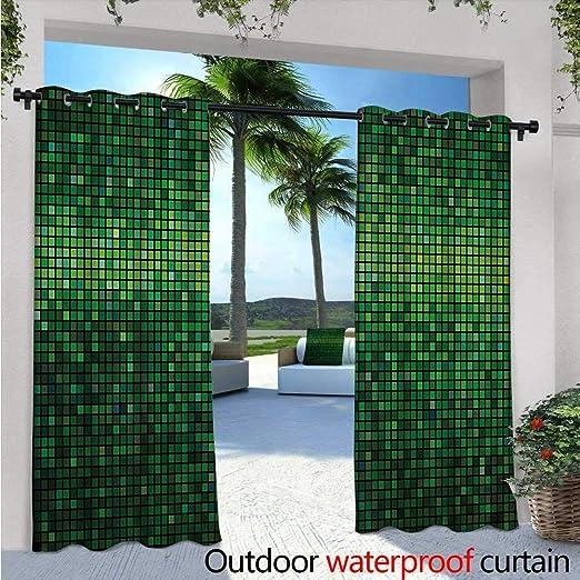 Cortina de privacidad para exteriores verde para pérgola abstracto floral adornos inspirados en la naturaleza ramas artísticas hojas aislamiento térmico repelente al agua Drape para balcón helecho verde manzana verde verde blanco: