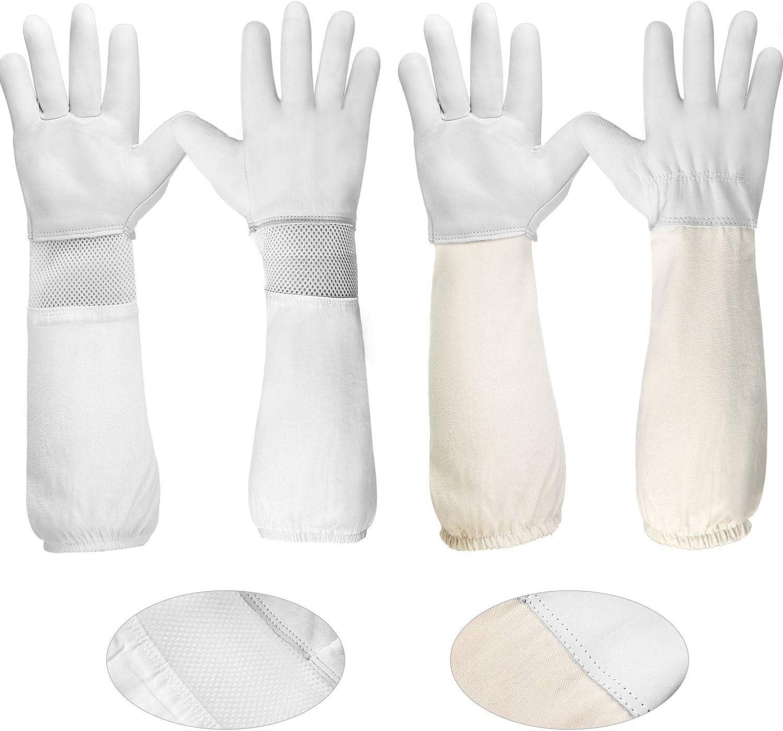 1 Pair XL Beekeeping Gloves Goatskin Bee Keeping w//Vented Beekeeper Long Sleeves