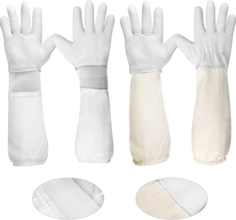 1 Pair Of Bee Beekeeping Protective Gloves With Vented Long Sleeves Grey+White