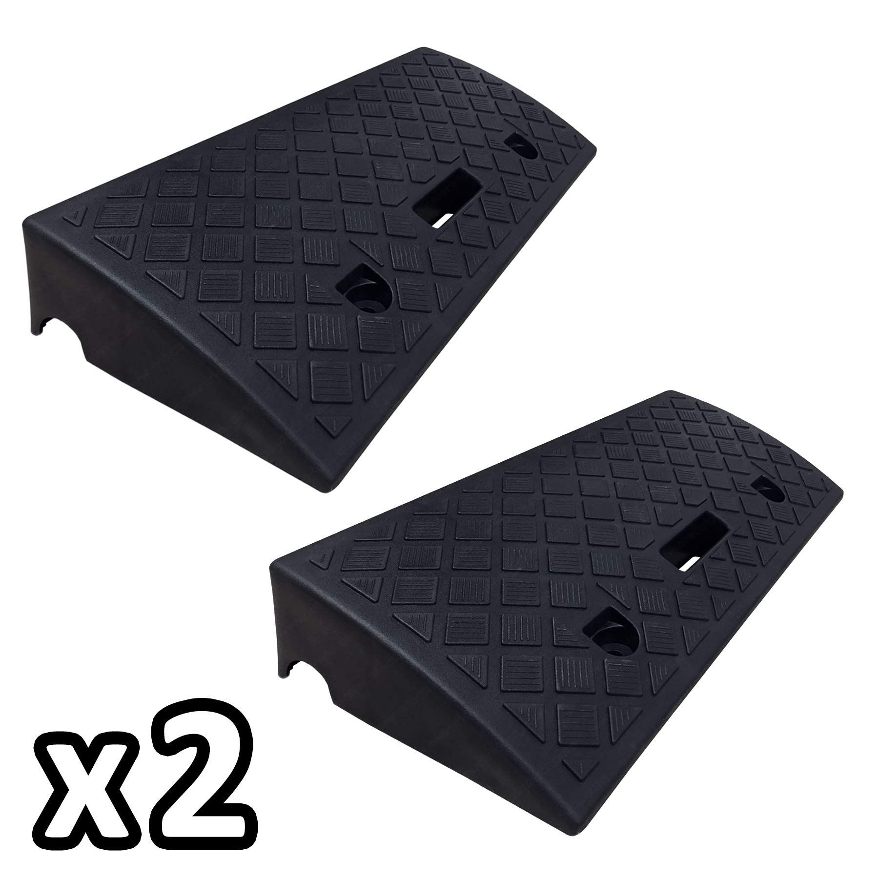 Electriduct 4'' Polypropylene Plastic Portable Pair of Curb Ramps (KIT of 2) Color: Black