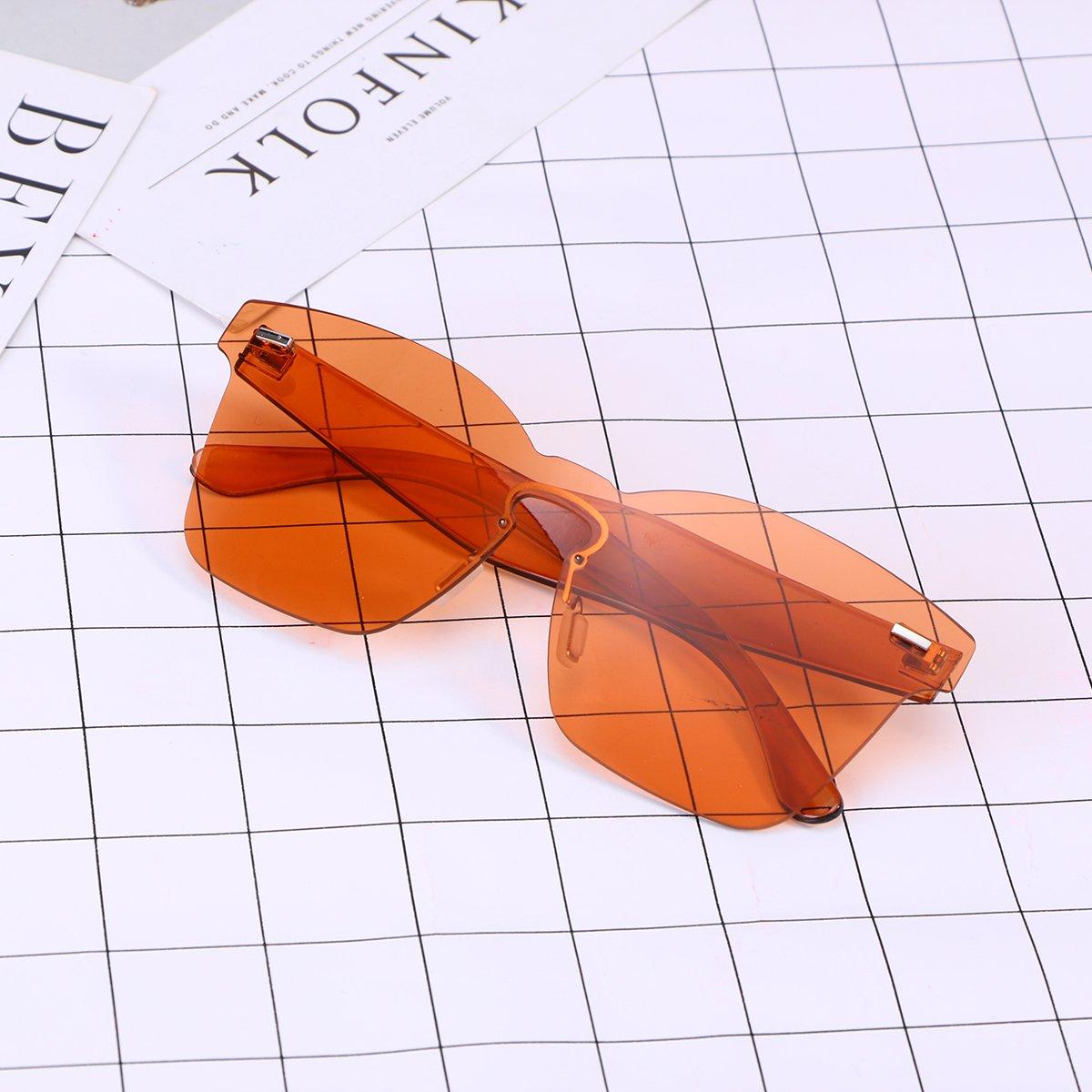 15f2be72a7f6 OULII Rimless Sunglasses Novelty Pratical Beach Seaside Sunglass Mirror  Summer Eyewear for Men Women (Orange): Amazon.com.au: Fashion