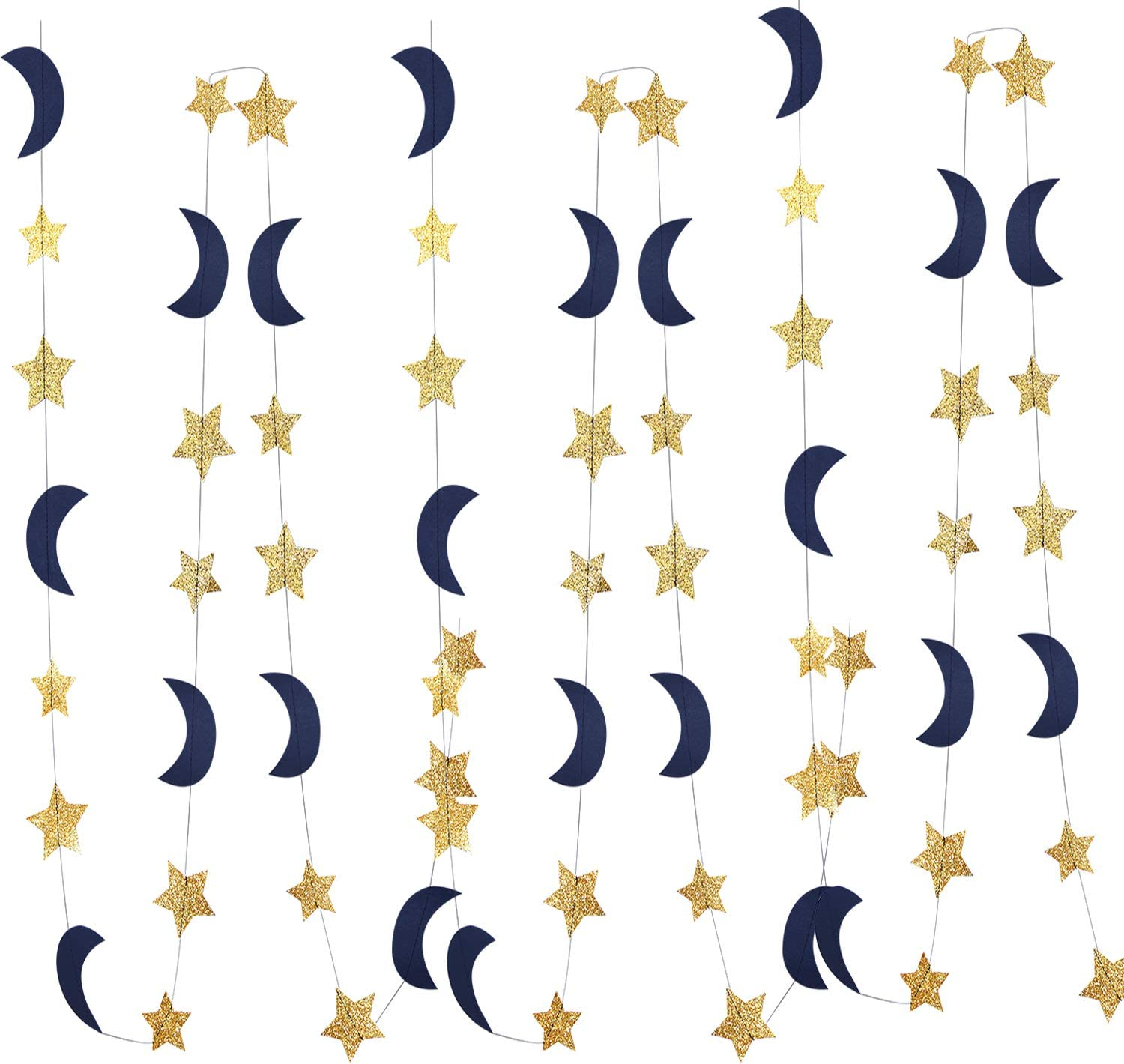 Moon and Star Garland Decorations Navy Gold Glitter Outer Space Birthday Party Decorations Hanging Decorations Honey Moon Wedding Engagement Twinkle Twinkle Baby Shower Decorations/Birthday Decorations