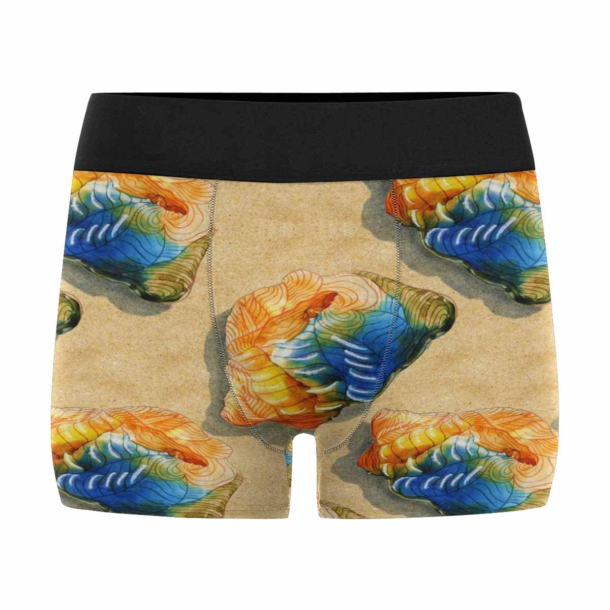 INTERESTPRINT Mens Boxer Briefs Underwear Exotic Tropical Shell on The Sandy Beach XS-3XL