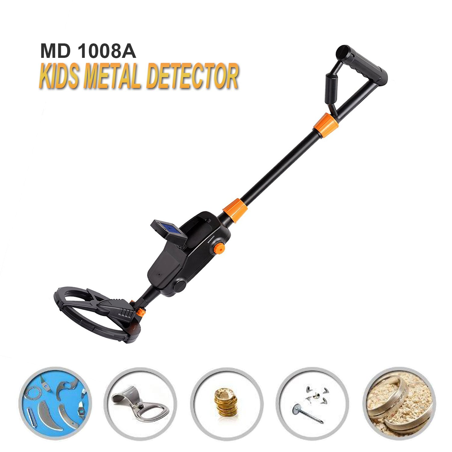 PiscatorZone Kids Metal Detector MD-1008A Underground Gold Finder Treasure Hunter Advanced Beach Searching Machine with LCD Display Waterproof Dial by PiscatorZone