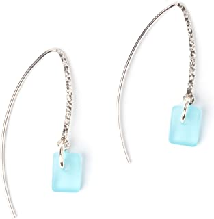product image for Sea Glass Sweep Earrings, with Aqua Glass