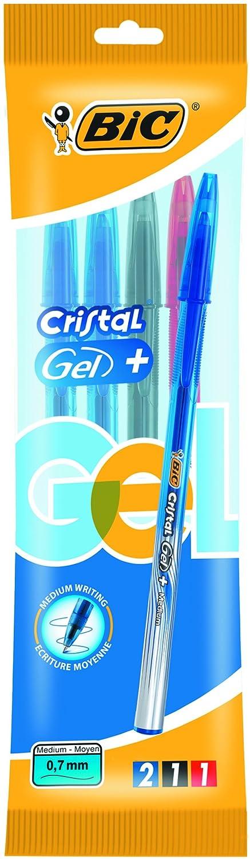 Bic Cristal Gel + Penna Gel Punta Media 0, 7 mm Confezione 3 Penne Colori Assortiti 890048
