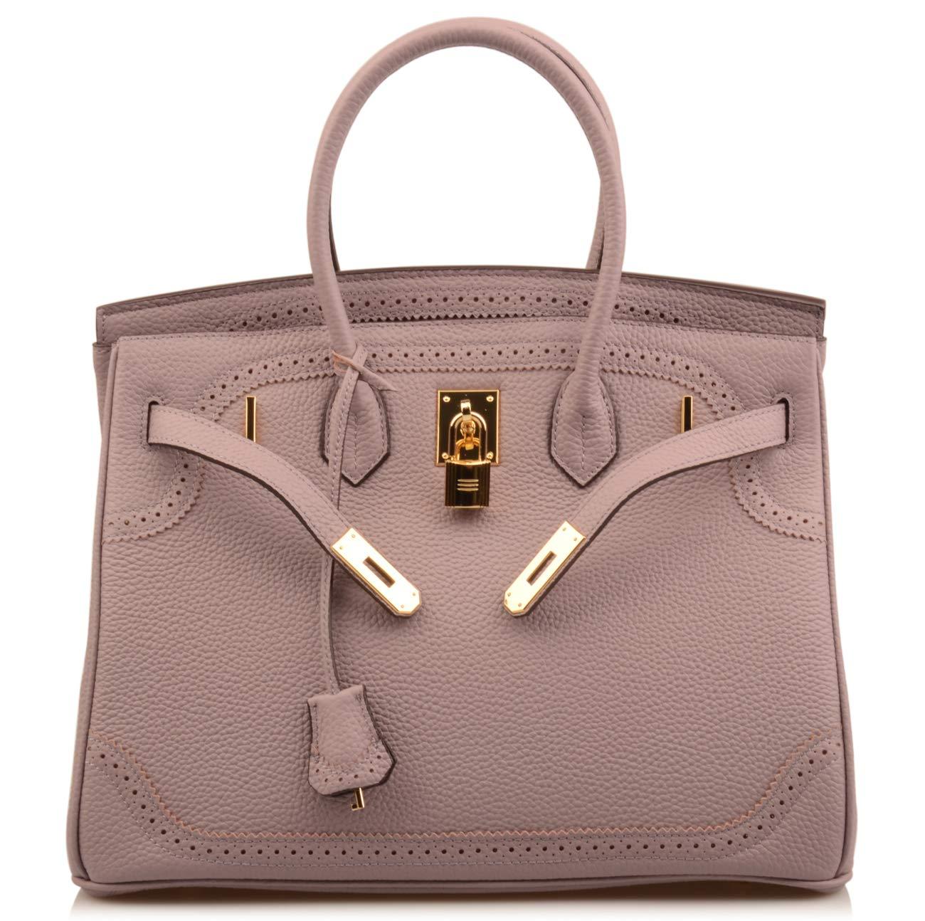 Qidell Women's Padlock Handbags Genuine leather Lace Padlock Purse Gold Hardware (13.8'' (35cm), Lavender)