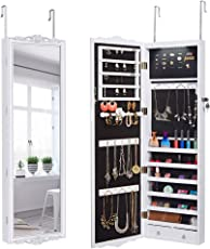 LANGRIA 10 LEDs Jewelry Cabinet Full Length Lockable Wall Mounted Over The