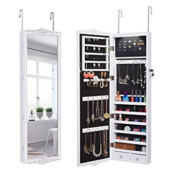 LANGRIA 10 LEDs Wall Door Mounted Jewelry Cabinet Lockable Jewelry Armoire Storage Organizer for Accessories