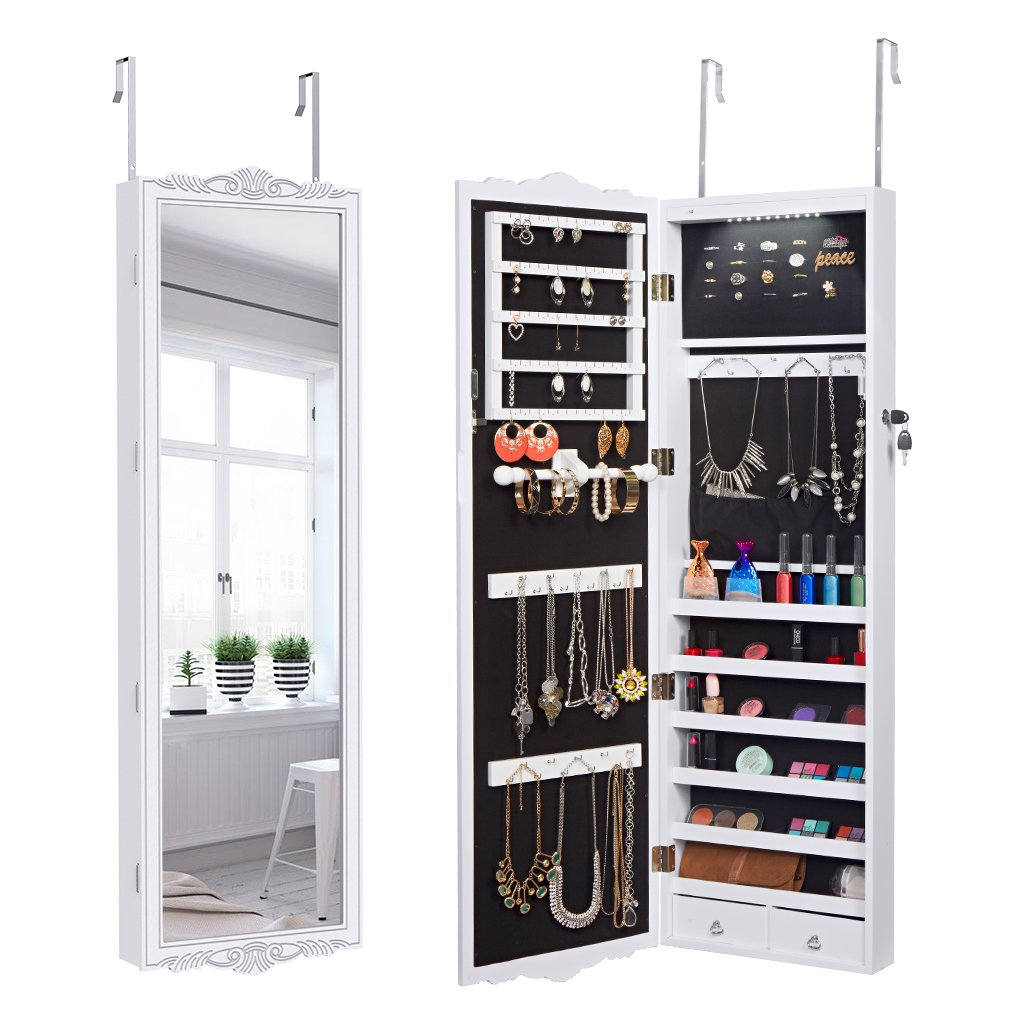 LANGRIA Full-Length Lockable Wall-Mounted Over-the-Door Hanging Jewelry Cabinet Armoire and Accessories Storage Organizer with LED Lights and 2 Drawers Carved Design and 3 Adjustable Heights (White)