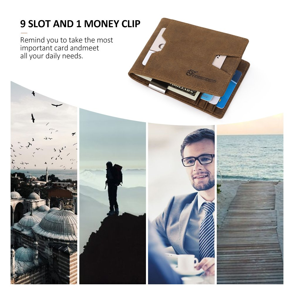 Mens Wallet slim Front Pocket RFID Blocking Card Holder Minimalist Mini Bifold Gift Box by teemzone (Image #6)