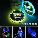 2pcs LED Car Cup Holder Lights for Cadillac, 7 Colors Changing USB Charging Mat Luminescent Cup Pad, LED Interior…