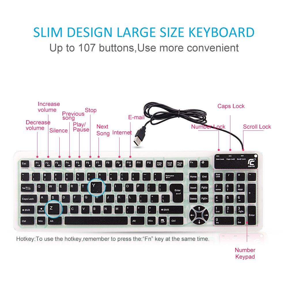 CHIN FAI Teclado de Silicona Plegable Teclado Flexible Teclado de enrollar Teclado USB Teclado de computadora Impermeable Suave Cable de Silicona para PC port/átil PC port/átil