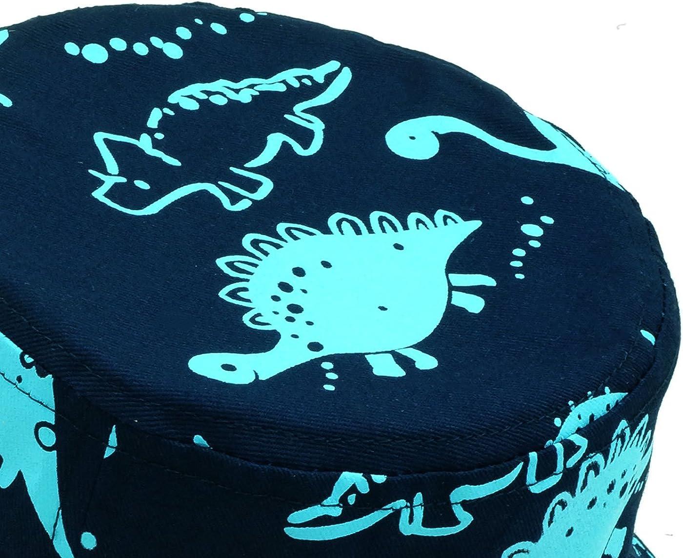 Beb/é Sombrero Pescador para Ni/ños Ni/ñas Primavera Verano Bucket Hat Infantil Gorra de Sol con ala de Estampado de Dinosaurio para Playa Viajes Vacaciones Algod/ón 6 Meses-8 A/ños Happy Cherry