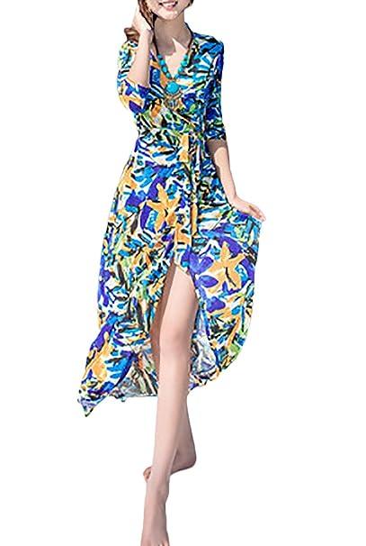 Vestidos Playa Mujer Vestidos Largos De Verano Elegantes 3/4 Manga Bandage Impresión Vintage Hippies