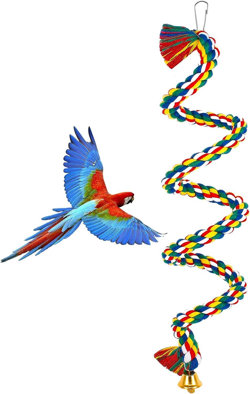 Cuerda de algodón en Espiral Percha de pájaro, Cuerda de Periquito de Loro Percha en Espiral, Cuerda de Periquito de Loro, Percha en Espiral Columpio de algodón Colorido con Campana (100 cm)
