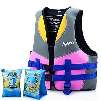 e29d4de160cdc Wolfway Buoyancy Swim Jacket - Girls Junior Swim Training Vest, Removable  Floats (Neoprene) with Crotch Strap Used ...