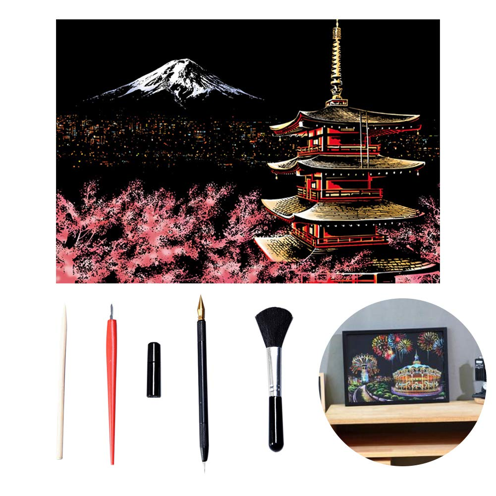TOPFAY 1set Scratch Art Famous City Night View Dazzling Carta Scratchboard DIY Mestieri, Arte, Carta casa Decorazione del Salone (Monte Fuji, Inclusi Gli Strumenti)