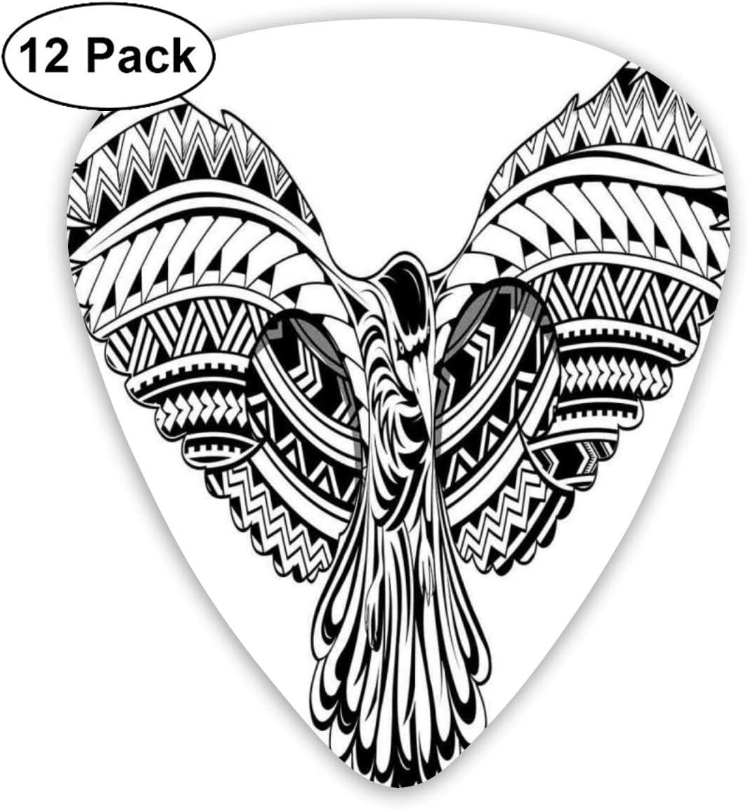 Guitar Picks 12-Pack,Crow Bird Tattoo Artwork With Maori Style ...