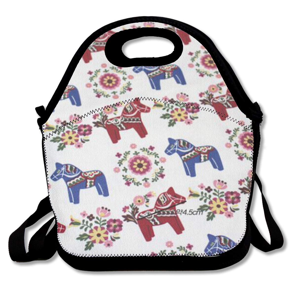 ad8cfde357bb Amazon.com - Floral Swedish Dala Horses Lunch Bag Insulated Lunch ...
