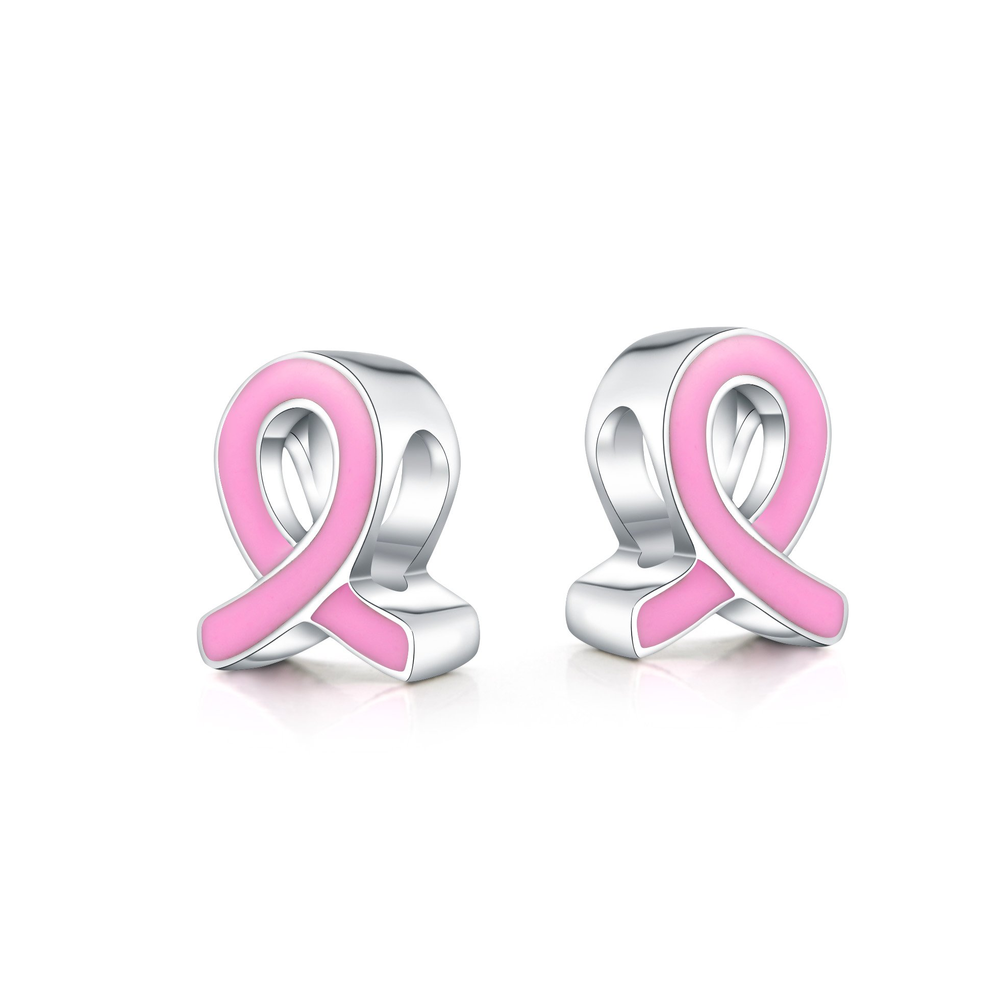 Pink Ribbon 925 Sterling Silver Bead Charm for Charm Bracelet Chain or Pendant Necklace Chain