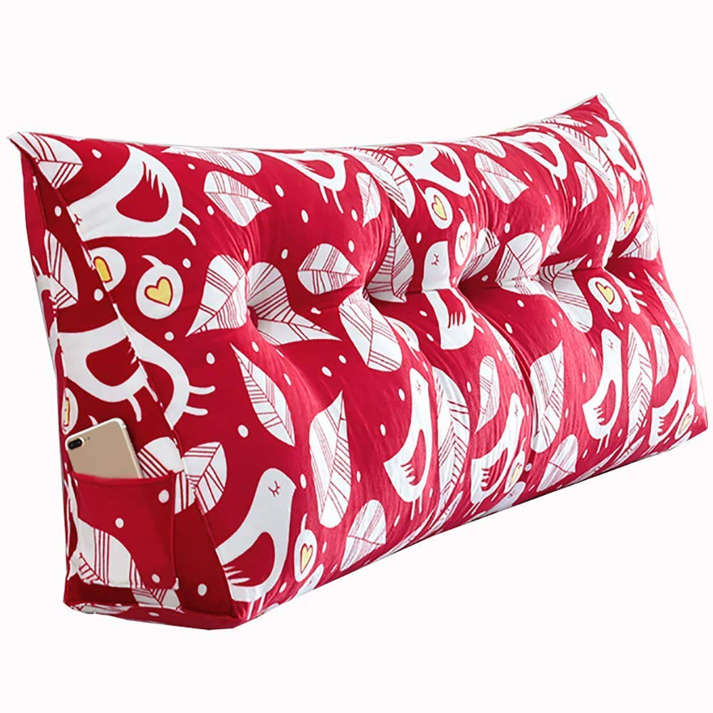 PENGFEI Triangle Cushion Bed Sofa Large Backrest Waist Care Washable, 11 Colors, 6 Size (Color : Red 3#, Size : 120x20x50CM)