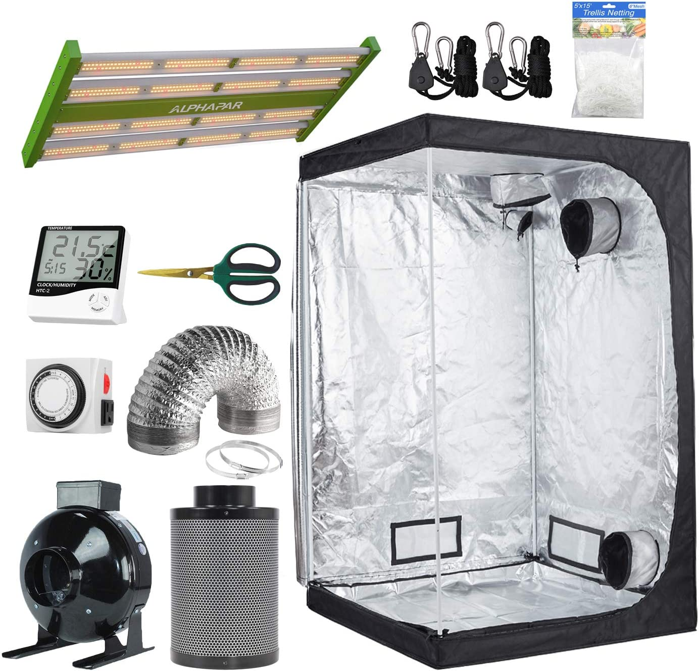 BloomGrow 48 x24 x72 Mylar Grow Tent Grow Box 4 Inline Fan Air Filter Ventilation System 1500W LED Full Spectrum Professional Grow Light Strips Indoor Plant Grow Tent Kit Complete Package