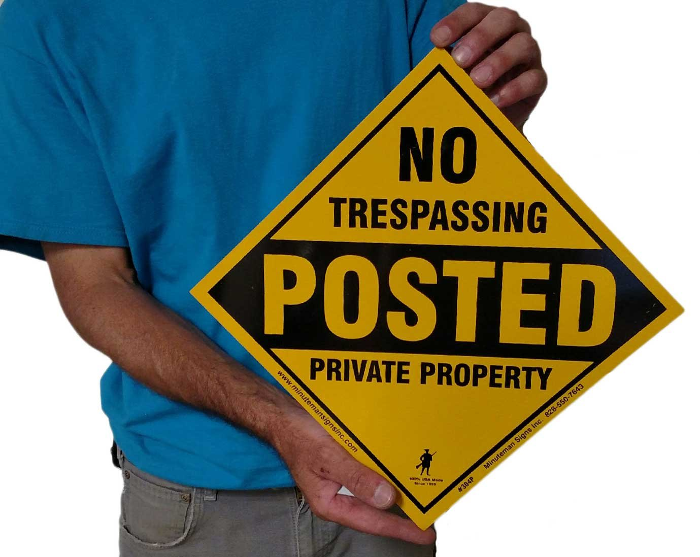 Aluminum Yellow No Trespassing Posted Diamond Shaped Signs x25 (Yellow)