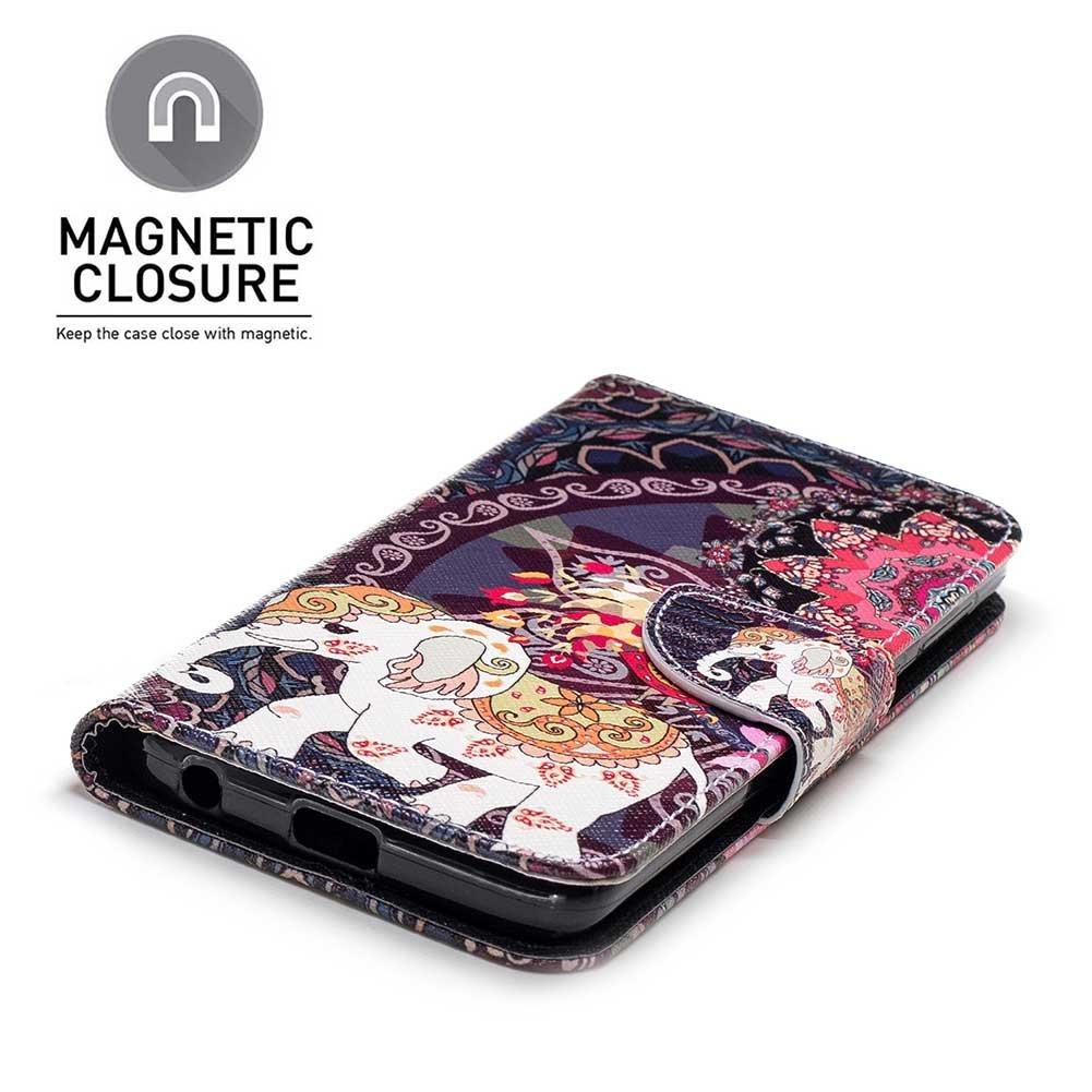 Phone Case for Motorola Moto G6 Motorola Moto G6 Case Ultra-Thin PU Leather Bookstyle Flip Wallet Beautiful Pattern Design Card Slots Magnetic Closure Elephant