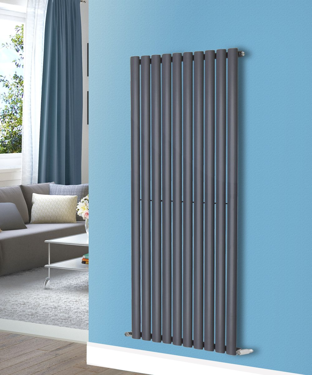 NRG Modern 1800x354mm Double Panel Upright Oval Column Radiator Anthracite Designer Vertical Bathroom Central Heating Manufactured for NRG-Radiator